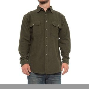 Cabelas deerskin soft green chamois shirt. Large